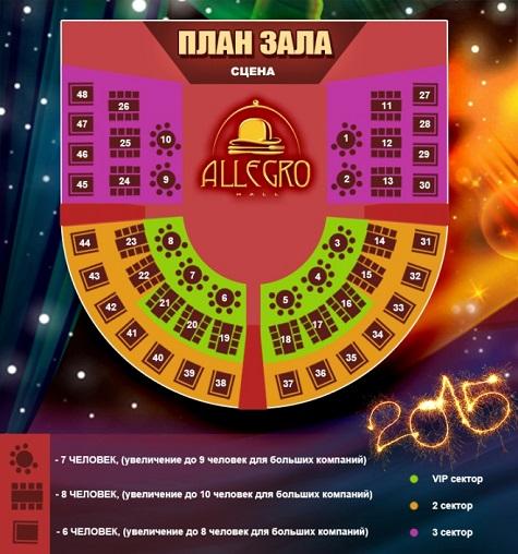 Зал на НГ 2015 в Allegro