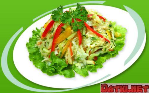 Салат из сельдерея с капустой и перцем