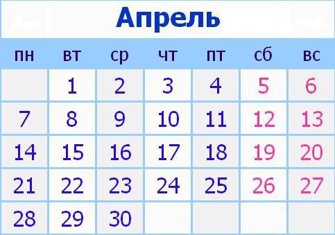 Календарь праздников в России на Апрель 2014