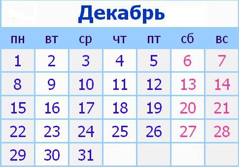 Календарь праздников в России на Декабрь 2014