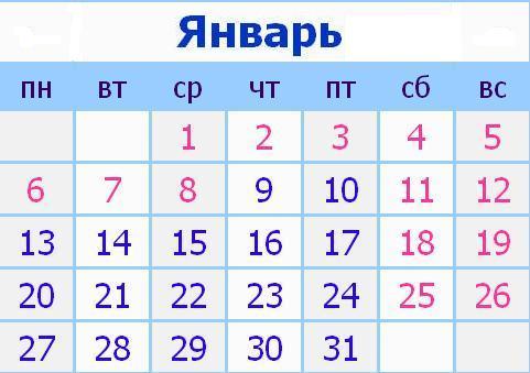 Календарь праздников в России на Январь 2014