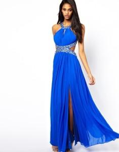Роскошное синее новогоднее платье для брюнетки