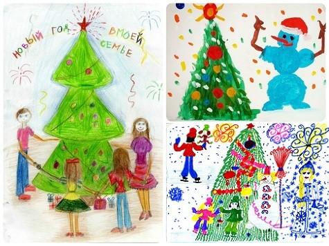 Детские рисунки как украшение к Новому году 2018