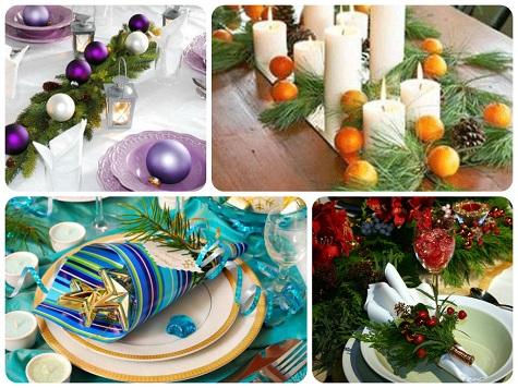 Как украсить новогодний стол еловыми ветками