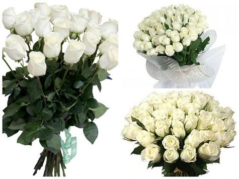 Букет из белых роз в подарок на День Святого Валентина
