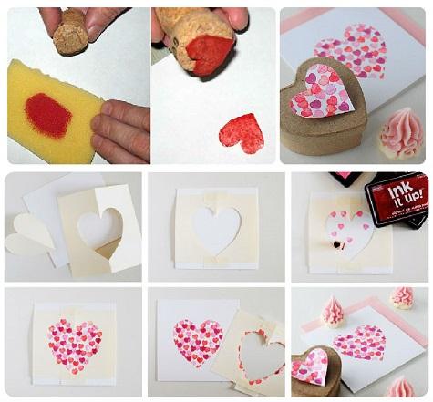 Валентинки с помощью штампа