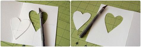 Вырезаем окошко в виде сердца на передней части открытки