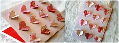 Открытка с объемными сердечками на 14 февраля
