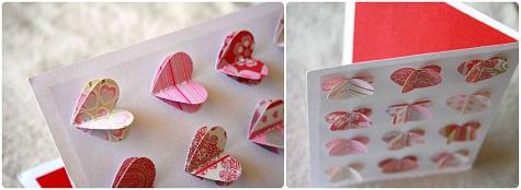 Открытка с объемными сердцами на День Всех Влюбленных