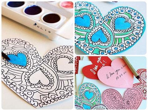 Раскрашиваем и подписываем валентинки с рисунками