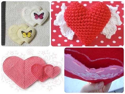Сердечки на День Святого Валентина (вязаные и из ткани)