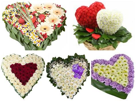 Сердца из цветов на День Влюбленных