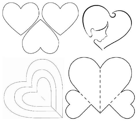 Шаблон для выризания сердечек на День Святого Валентина