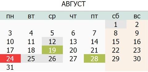 Календарь праздников Украины на Август 2015 года