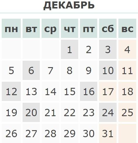Календарь праздников Украины на Декабрь 2016 года